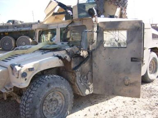 Eric Donoho was driving this Humvee when it ran over an improvised explosive device outside of Fallujah, Iraq, Feb. 14, 2007.