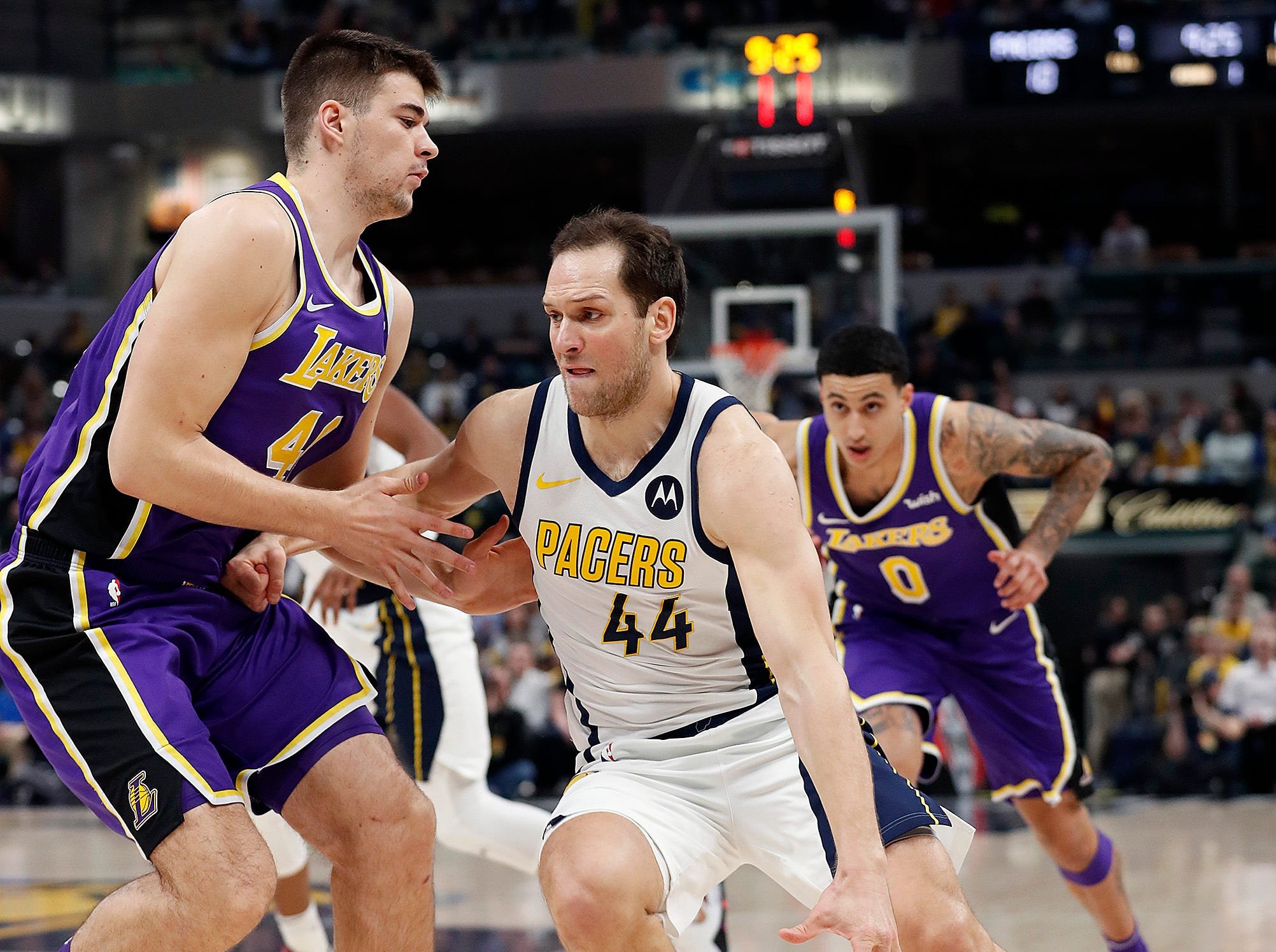 Indiana Pacers forward Bojan Bogdanovic (44) drives on Los Angeles Lakers center Ivica Zubac (40) in the first half of their game at Bankers Life Fieldhouse on Tuesday, Feb. 5, 2019.