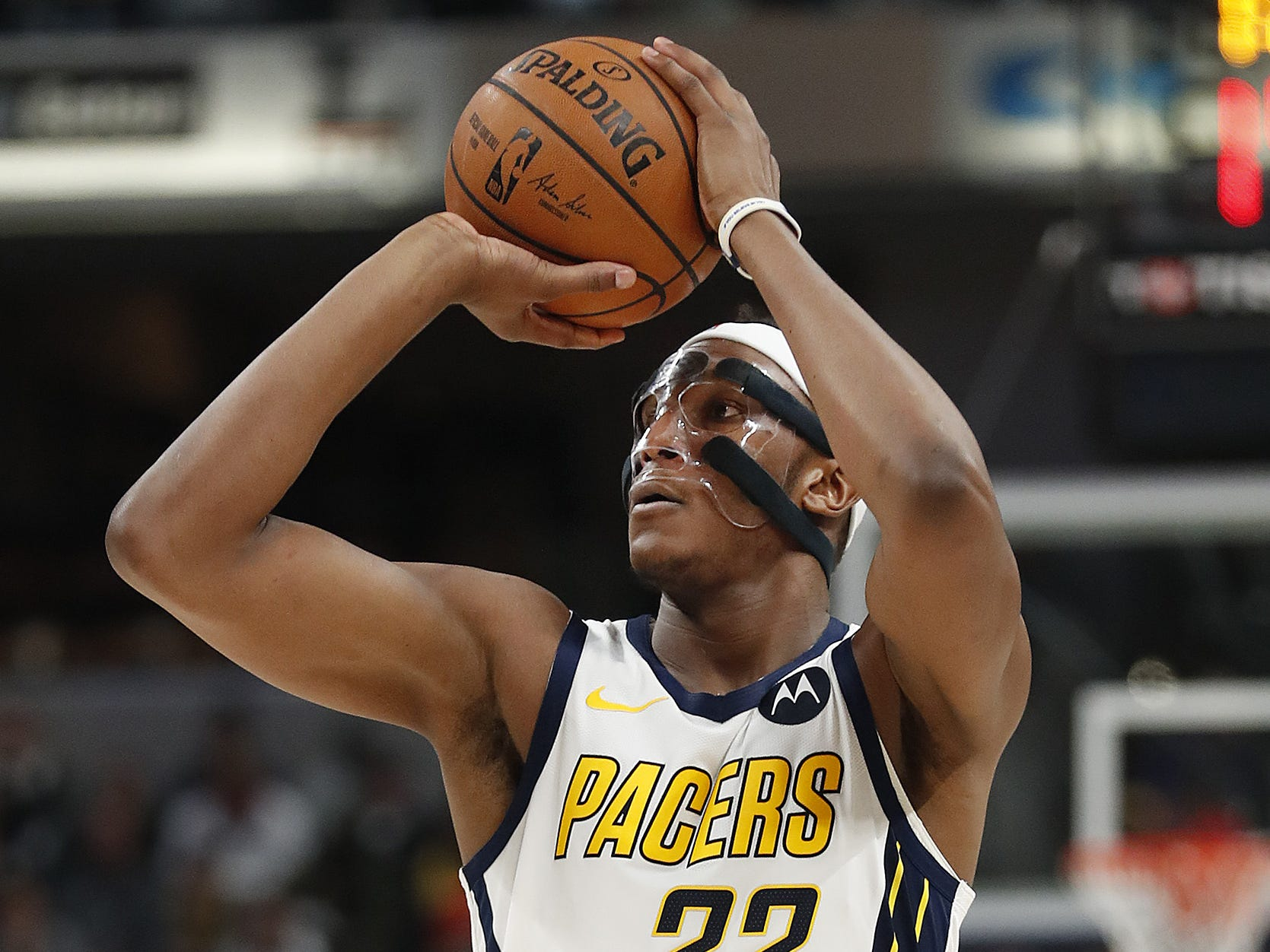 Indiana Pacers center Myles Turner (33) shoots a three-pointer in the first half of their game at Bankers Life Fieldouse on Tuesday, Feb. 5, 2019.