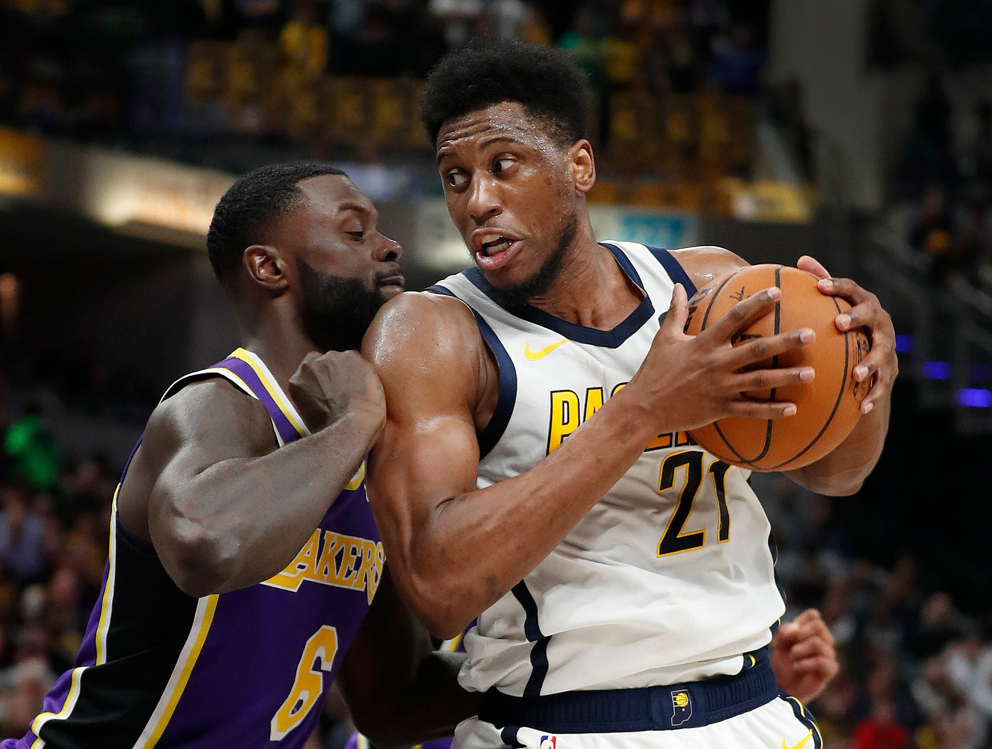 Indiana Pacers forward Thaddeus Young (21) spins on Los Angeles Lakers guard Lance Stephenson (6) in the second half of their game at Bankers Life Fieldhouse on Tuesday, Feb. 5, 2019.