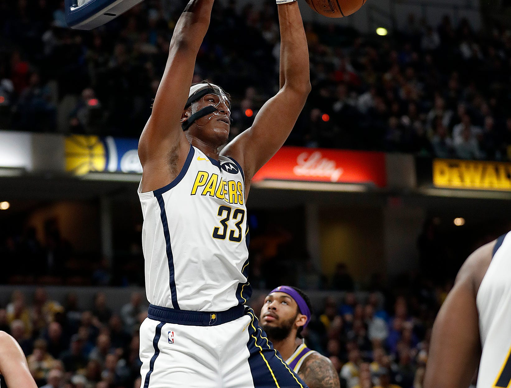Indiana Pacers center Myles Turner (33) dunks the ball in the second half of their game at Bankers Life Fieldhouse on Tuesday, Feb. 5, 2019.