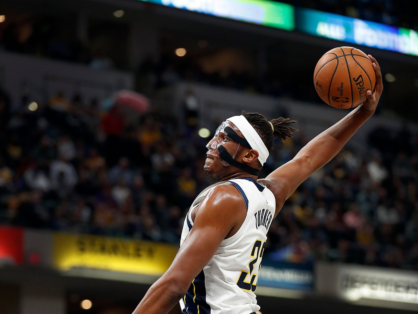 Indiana Pacers center Myles Turner (33) goes up for a dunk in the first half of their game at Bankers Life Fieldhouse on Tuesday, Feb. 5, 2019.