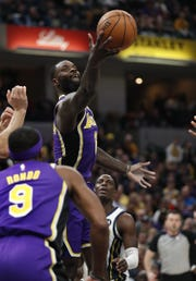 Los Angeles Lakers guard Lance Stephenson (6) pulls in a rebound in the first half of their game at Bankers Life Fieldouse on Tuesday, Feb. 5, 2019.