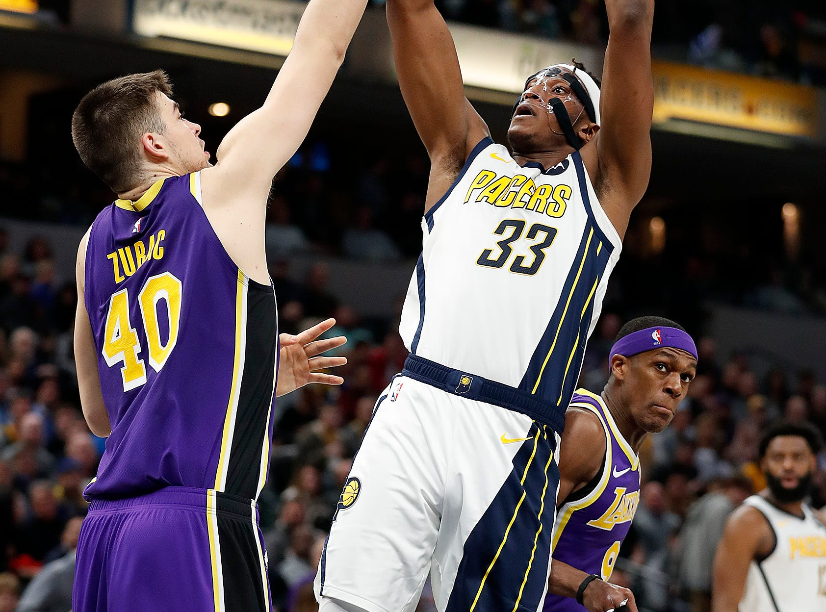 Indiana Pacers center Myles Turner (33) shoots over Los Angeles Lakers center Ivica Zubac (40) in the second half of their game at Bankers Life Fieldhouse on Tuesday, Feb. 5, 2019.
