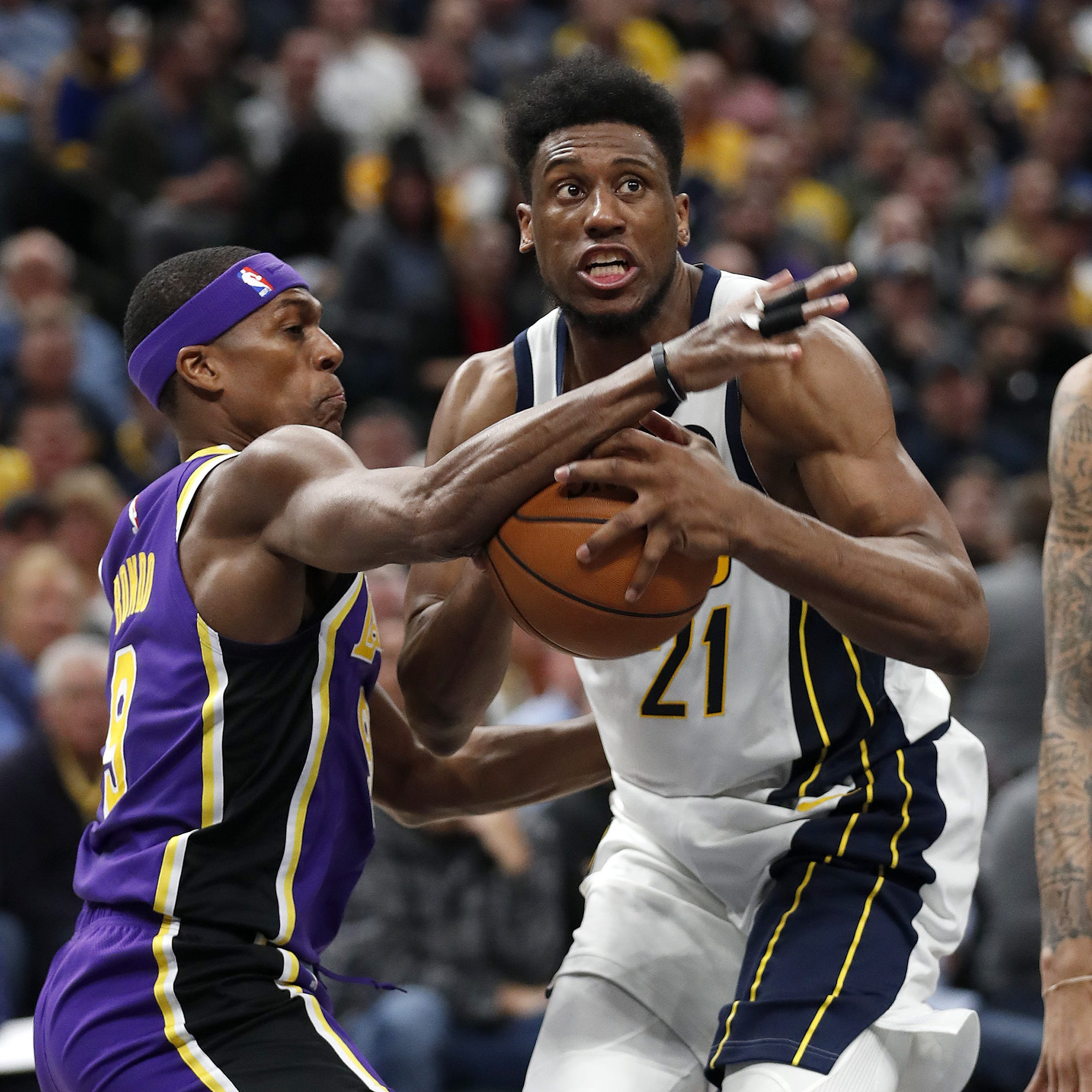 Indiana Pacers forward Thaddeus Young (21) drives...