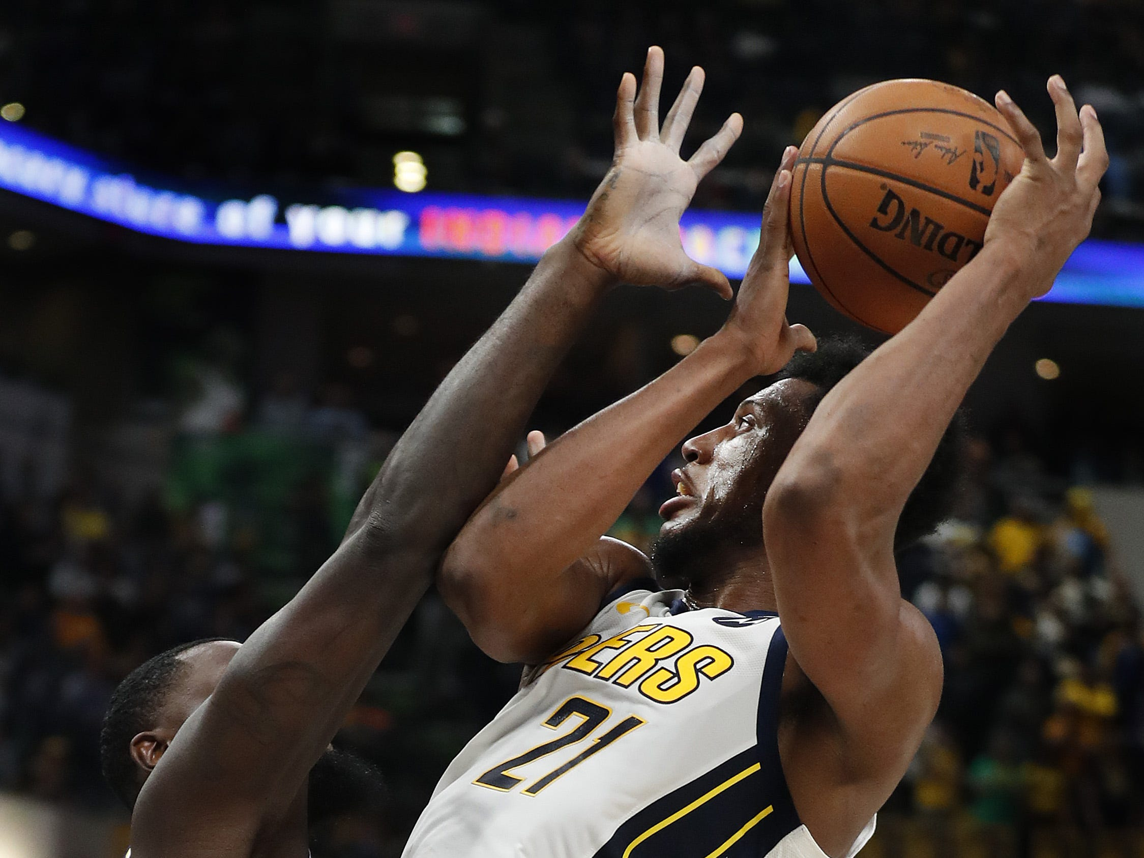 Indiana Pacers forward Thaddeus Young (21) shoots over Los Angeles Lakers guard Lance Stephenson (6) in the second half of their game at Bankers Life Fieldhouse on Tuesday, Feb. 5, 2019.