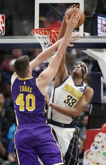 Indiana Pacers center Myles Turner (33) block Los Angeles Lakers center Ivica Zubac (40) in the first half of their game at Bankers Life Fieldouse on Tuesday, Feb. 5, 2019.