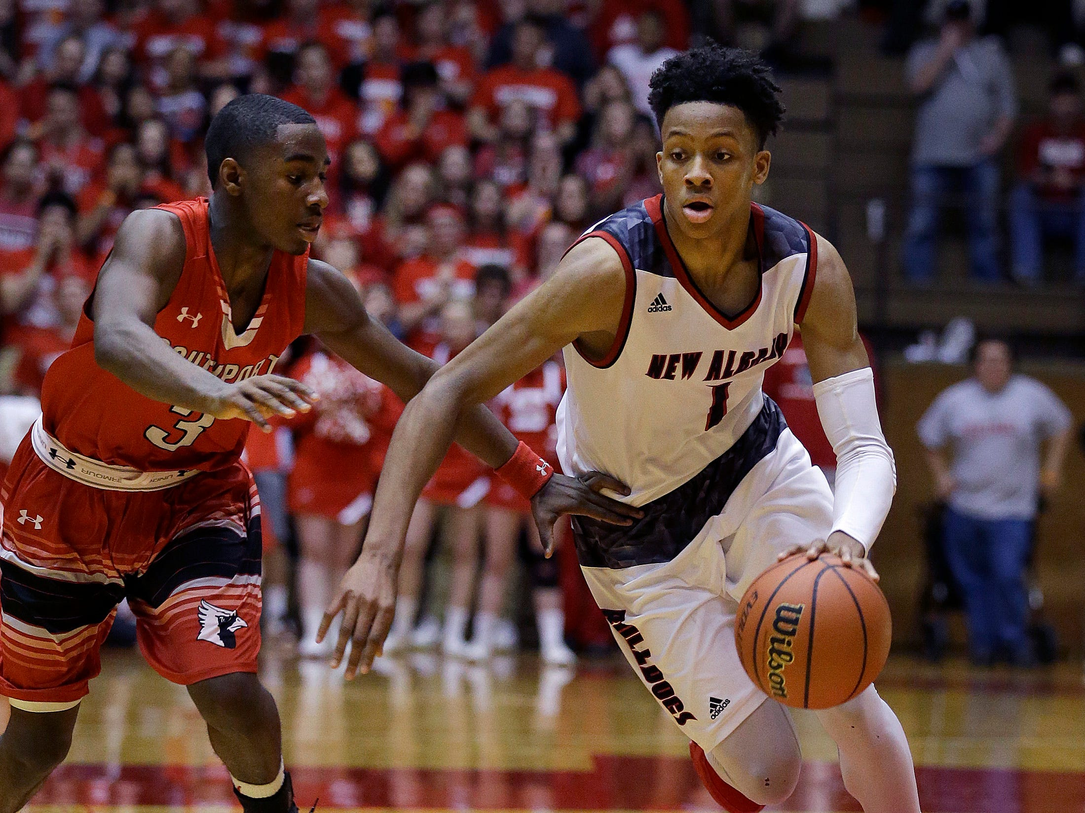 New Albany's Romeo Langford (1) finished with 3,002 career points in 2018.