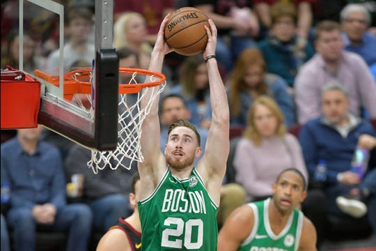 Feb 5, 2019; Cleveland, OH, USA; Boston Celtics forward Gordon Hayward (20) dunks in the third quarter against the Cleveland Cavaliers at Quicken Loans Arena.