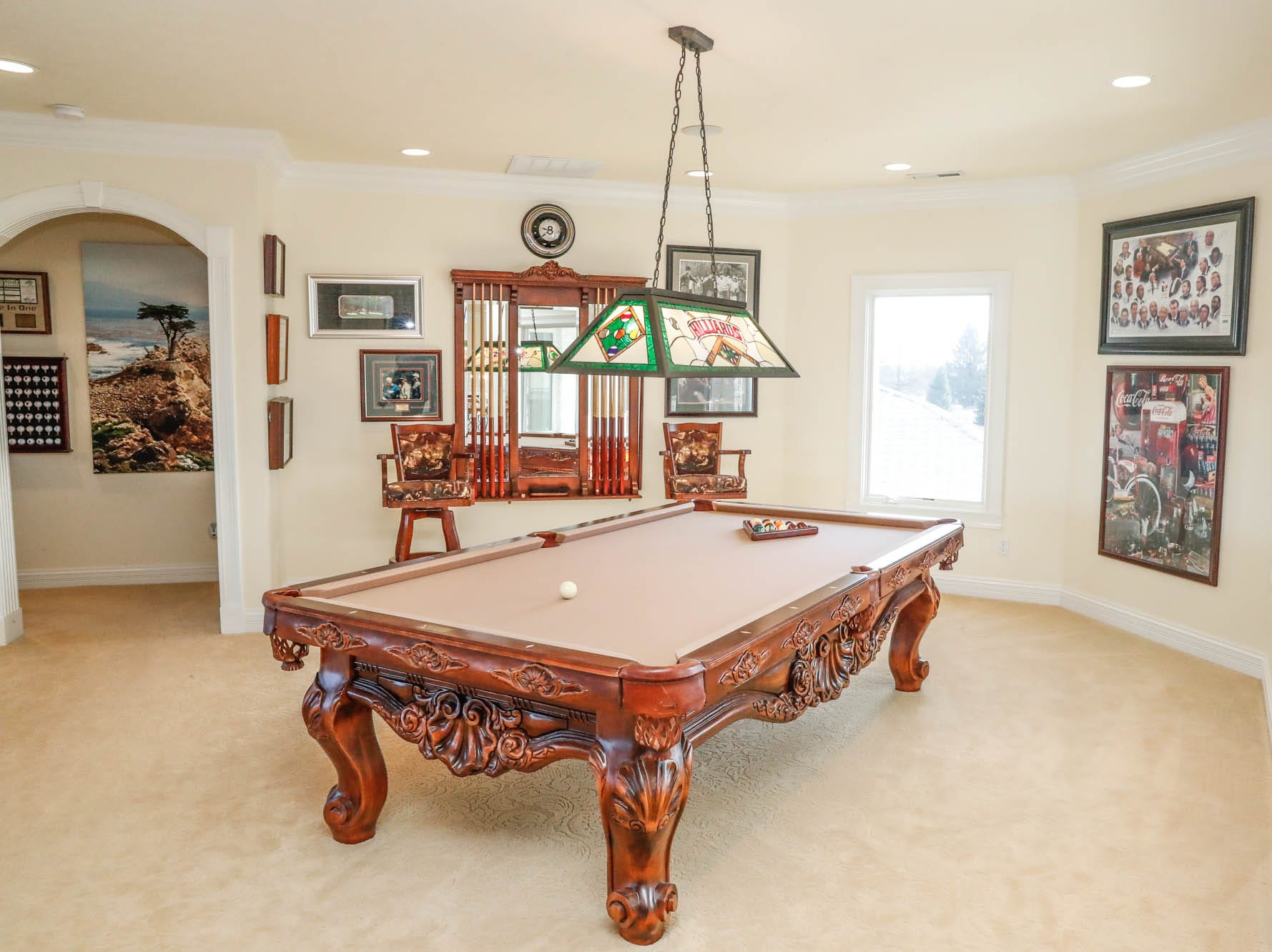 An open loft provides a second-floor billiards space at a Greenwood home up for sale at 1216 Stone Ridge Court, Greenwood, Ind. on Wednesday, Jan. 30, 2019. The home features 8,234 square feet, four bedrooms, two master suites, a 10 car garage, and an exercise room.
