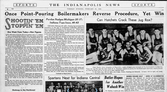 Sports front of the Indianapolis News on Feb. 20, 1940