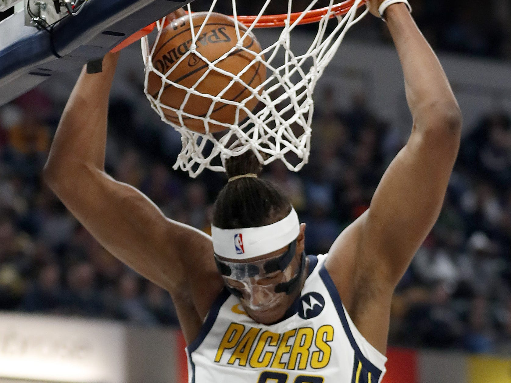 Indiana Pacers center Myles Turner (33) slams down two points against the Los Angeles Lakers in the first half of their game at Bankers Life Fieldouse on Tuesday, Feb. 5, 2019.