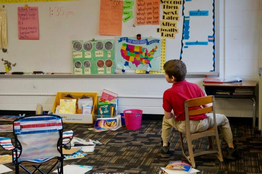 A second-grader attends class Jan. 9 at School 93, an innovation school in Indianapolis Public Schools.