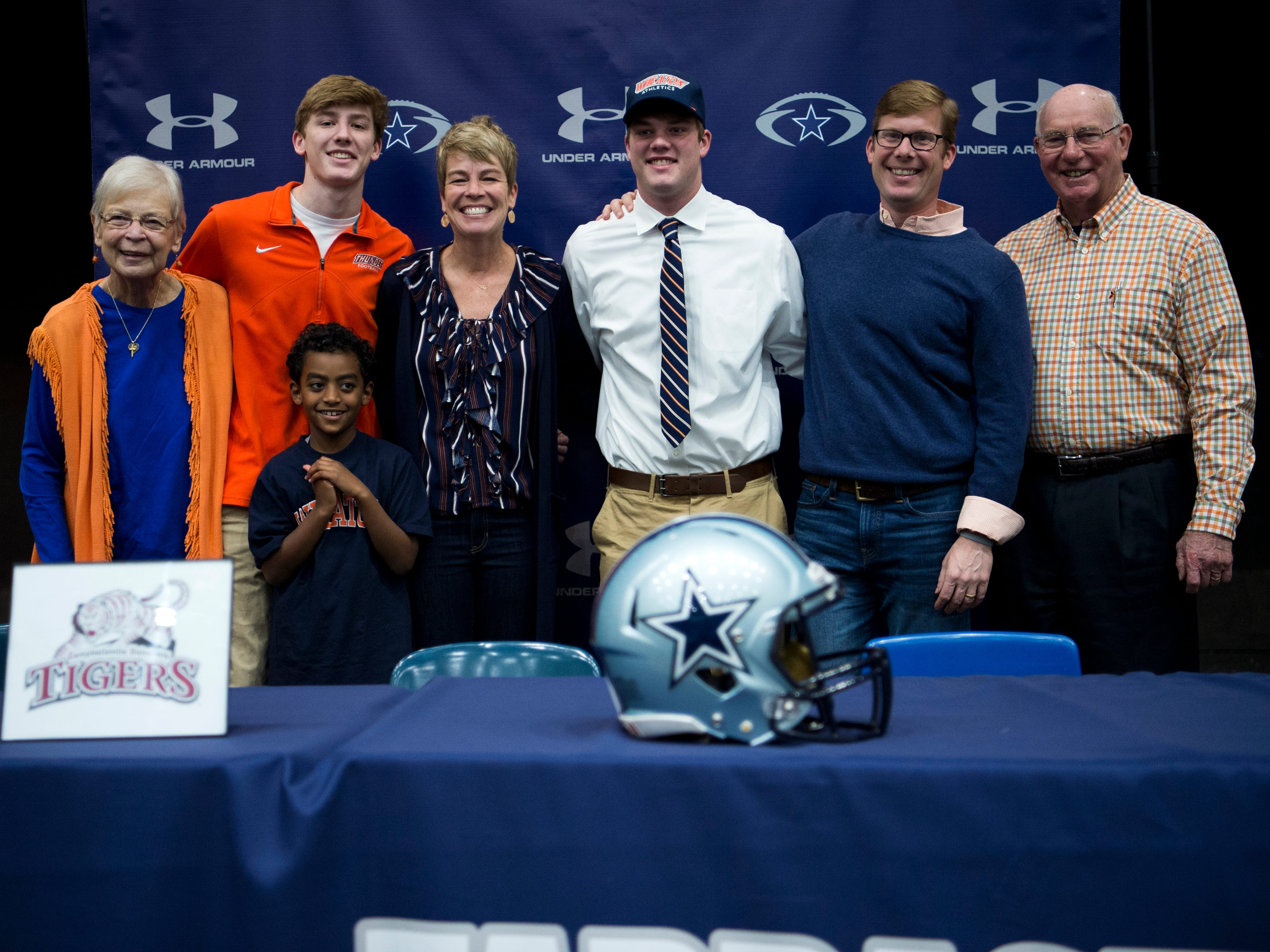 Farragut football player Caleb Kuhn during a National Signing Day event at Farragut High's auditorium on Wednesday, February 6, 2019.