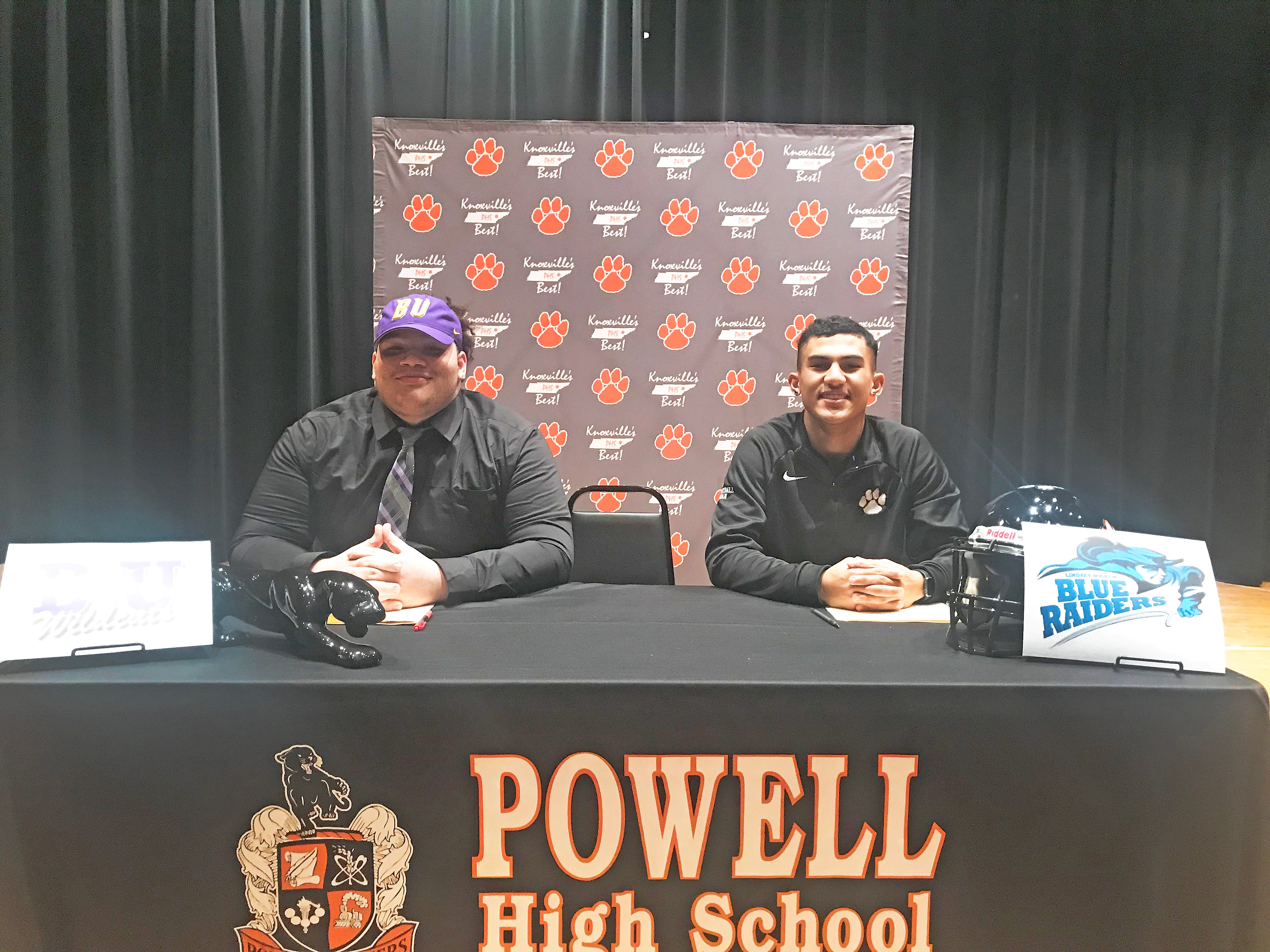 Powell High football players Alvin Stacy, left, and Riley Bryant signed college letters to Bethel University and Lindsey Wilson College, respectively. The event took place in the Powell High auditorium on National Signing Day, Wednesday, February 6, 2019.