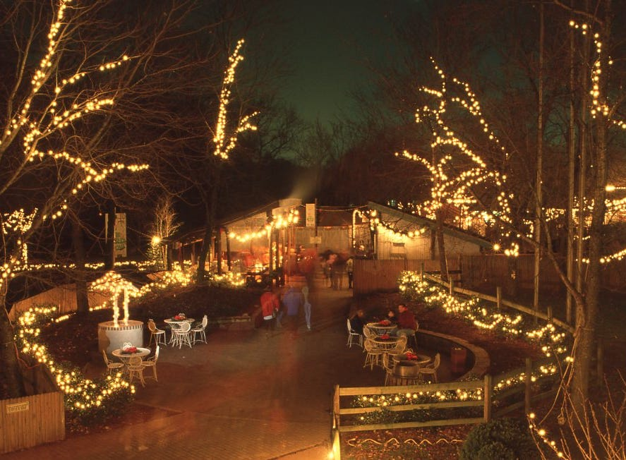 Visitors to the Knoxville Zoo can walk through and admire more than 100,000 lights that decorate the park for Christmas nightly in 1992.