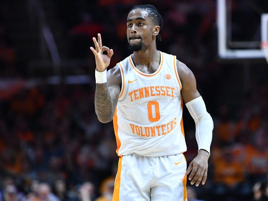 Tennessee's Jordan Bone (0) after hitting a 3-pointer against Missouri on Tuesday, February 5, 2019.