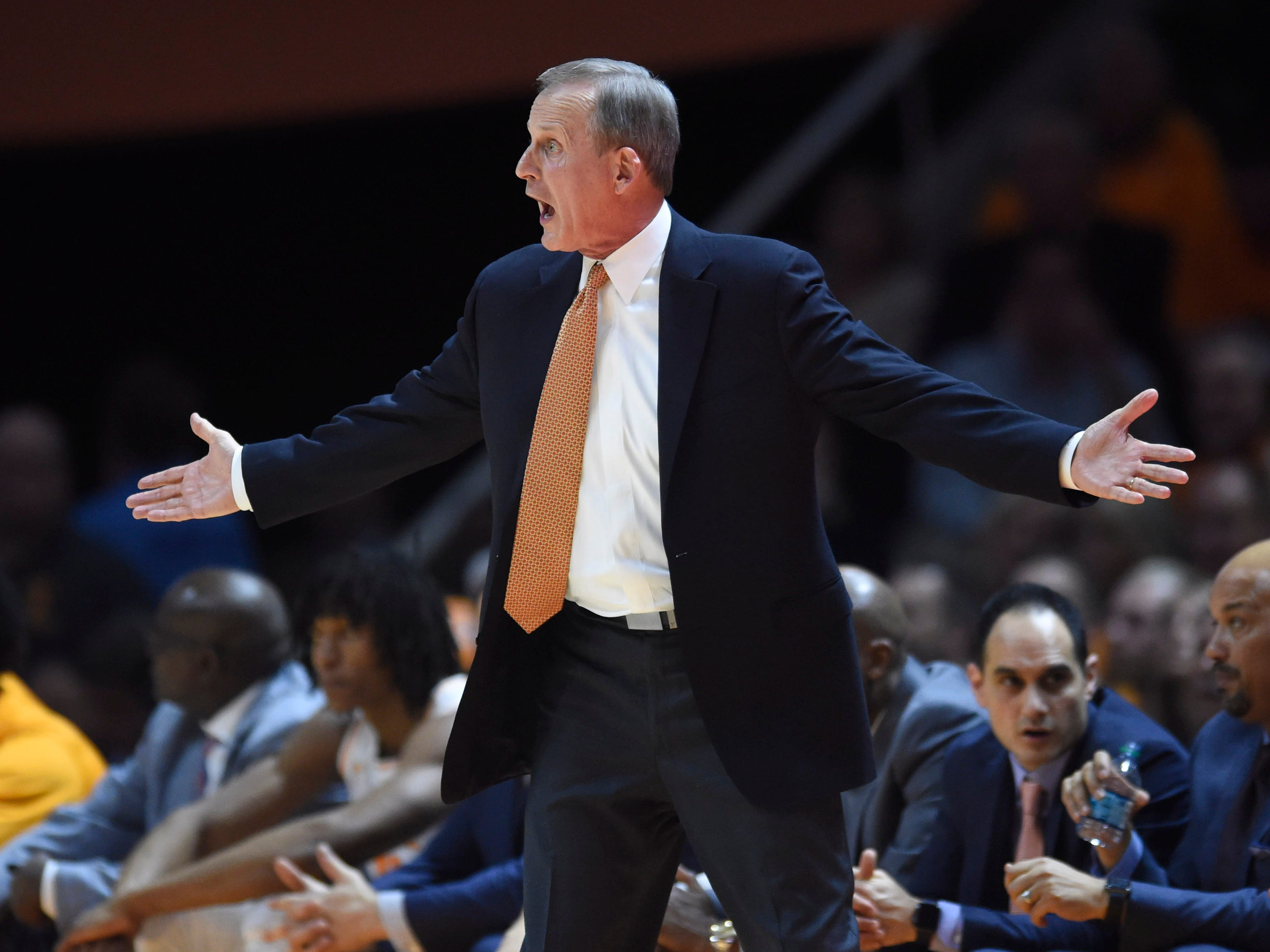 Tennessee basketball coach Rick Barnes shows his displeasure over a foul call on Grant Williams in the game against Missouri on Tuesday, February 5, 2019.