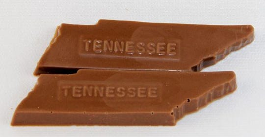 These Tennessee-shaped chocolates are available at Knoxville Chocolate Co.
