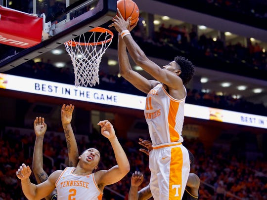 Tennessee's Kyle Alexander (11) scores on a rebound against Missouri on Tuesday, February 5, 2019.