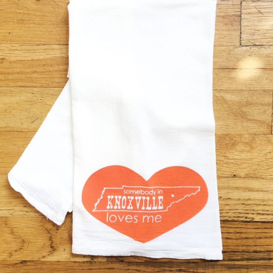 "This ""Somebody in Knoxville Loves Me"" tea towel..."