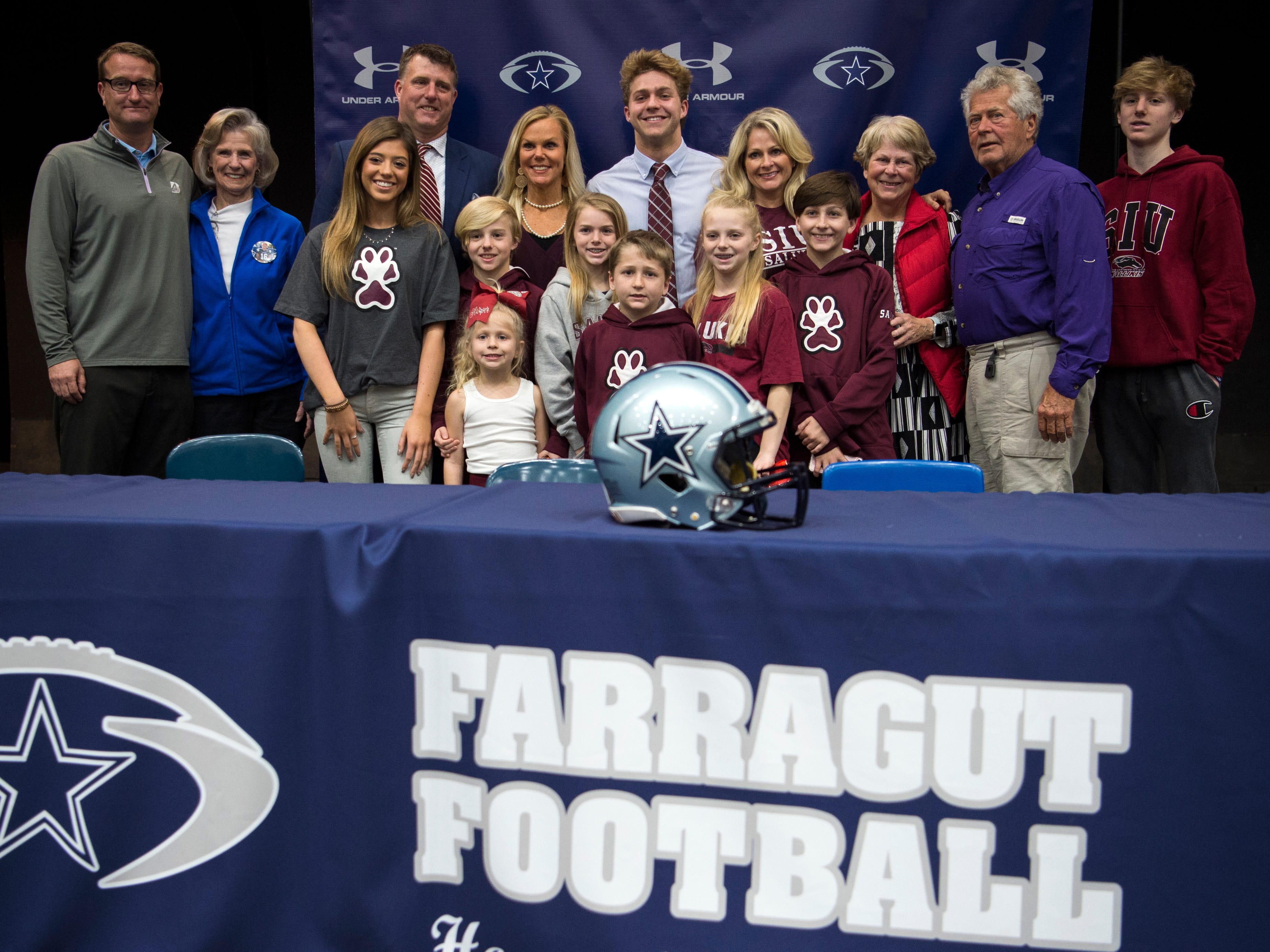 Farragut football player Tanner Corum during a National Signing Day event at Farragut High's auditorium on Wednesday, February 6, 2019.