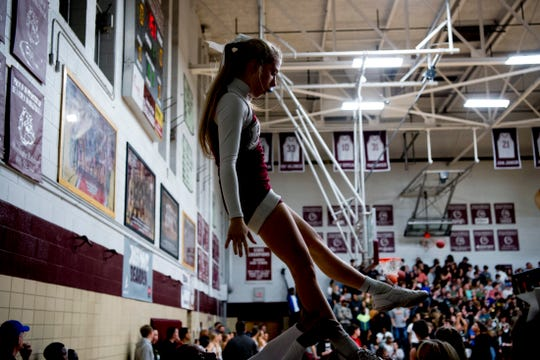 Bearden cheerleaders warm up during a game against Maryville at Bearden High School in Knoxville on Feb. 5, 2019.
