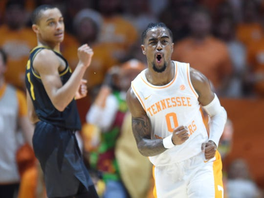 Tennessee's Jordan Bone (0) reacts after a foul was called against him in the game against Missouri on Tuesday, February 5, 2019.