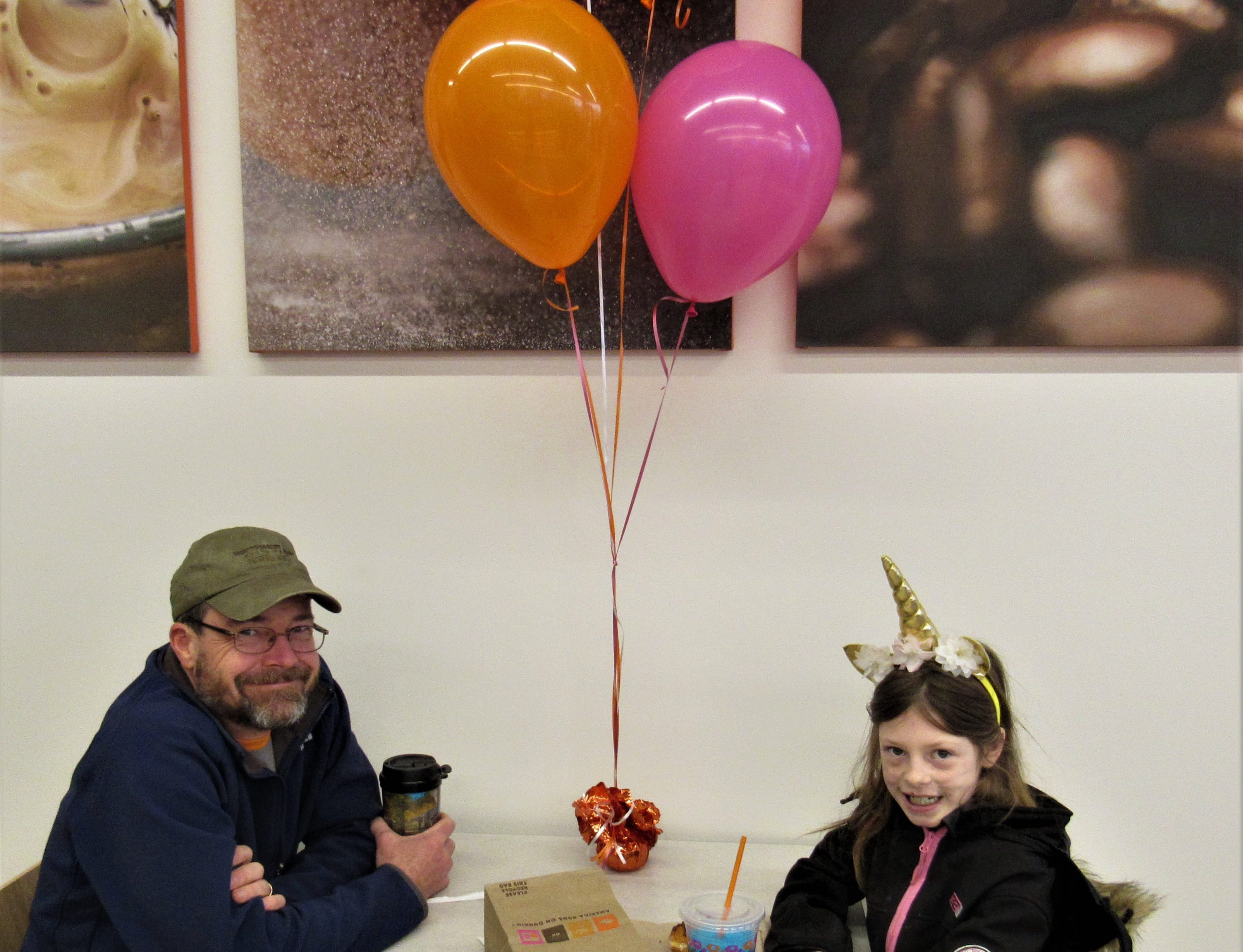 Larry Everett brought daughter Teagan in for her birthday.  She turned 8 on Feb. 2 and came in to enter a contest and have a doughnut, of course.
