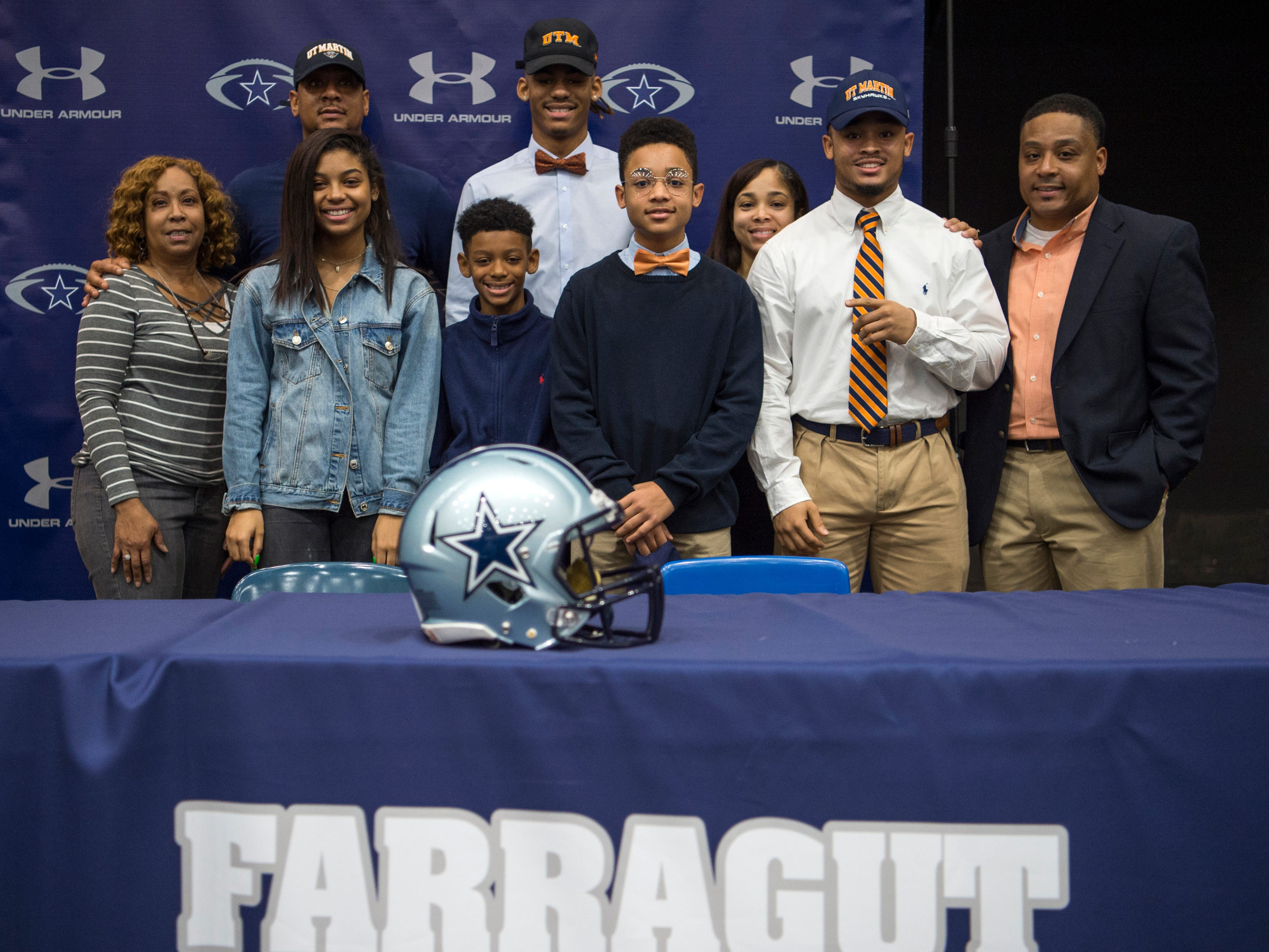 Farragut football players Isiah Gibbs and Jaden Gibbs during a National Signing Day event at Farragut High's auditorium on Wednesday, February 6, 2019.