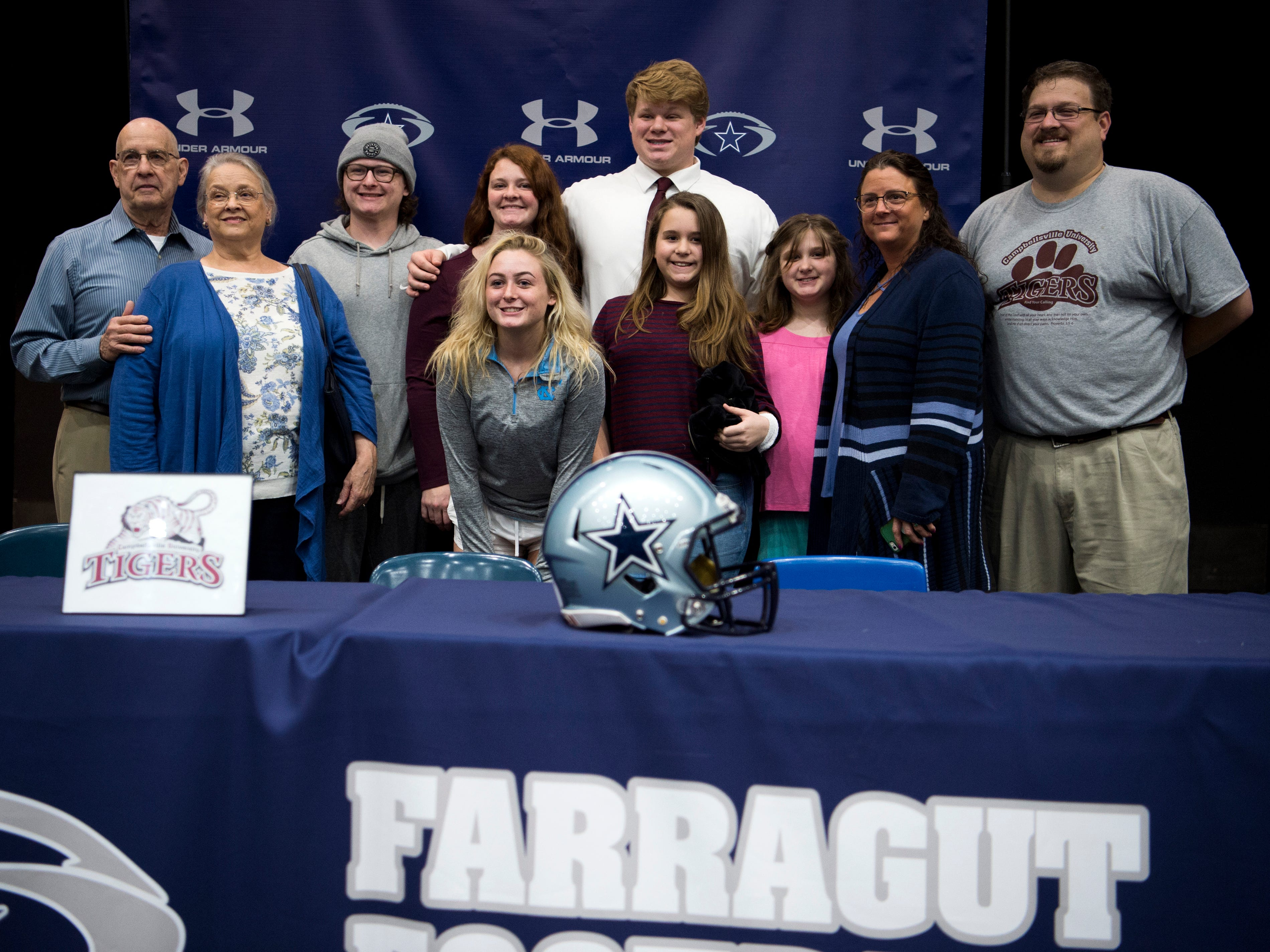 Farragut football player Ethan Gossage during a National Signing Day event at Farragut High's auditorium on Wednesday, February 6, 2019.
