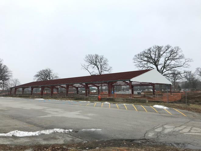The new horse barn at the Tippecanoe County Fairground is coming along nicely, county commissioner David Byers said, with the framework in place to hold over 140 horse stalls.