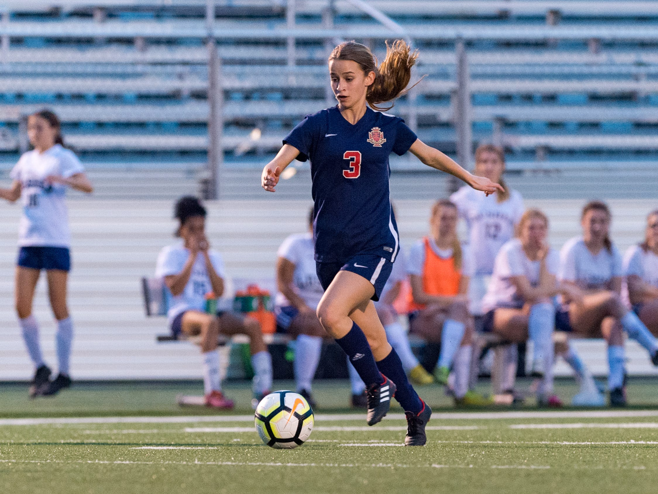 Emily Sonnier drives to the goal and scores as Teurlings Catholic shuts out Lutcher 8-0 in the second round of the LHSAA soccer playoffs.  Tuesday, Feb. 5, 2019.