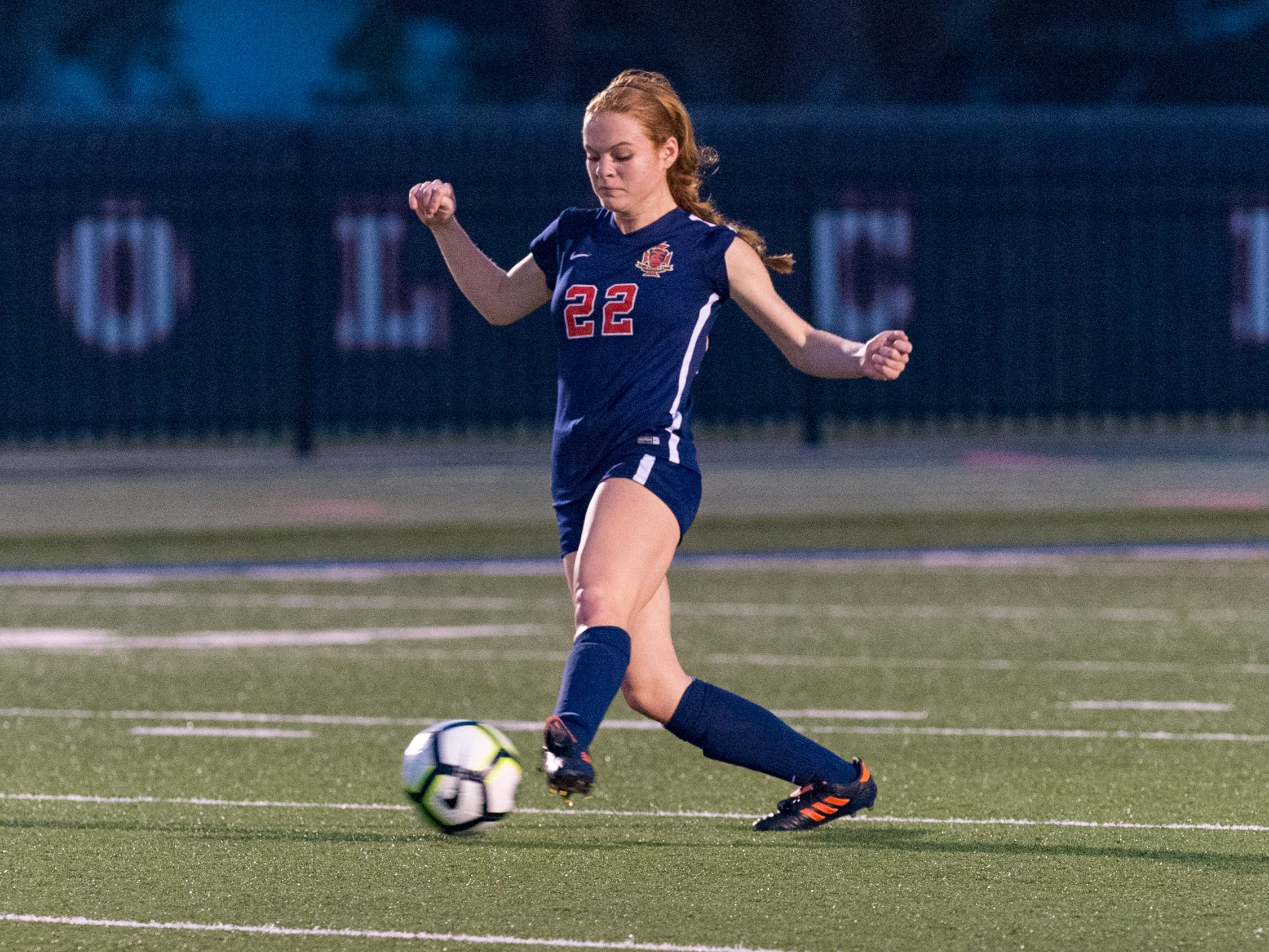 Aimee Fontenot passes the ball as Teurlings Catholic shuts out Lutcher 8-0 in the second round of the LHSAA soccer playoffs.  Tuesday, Feb. 5, 2019.