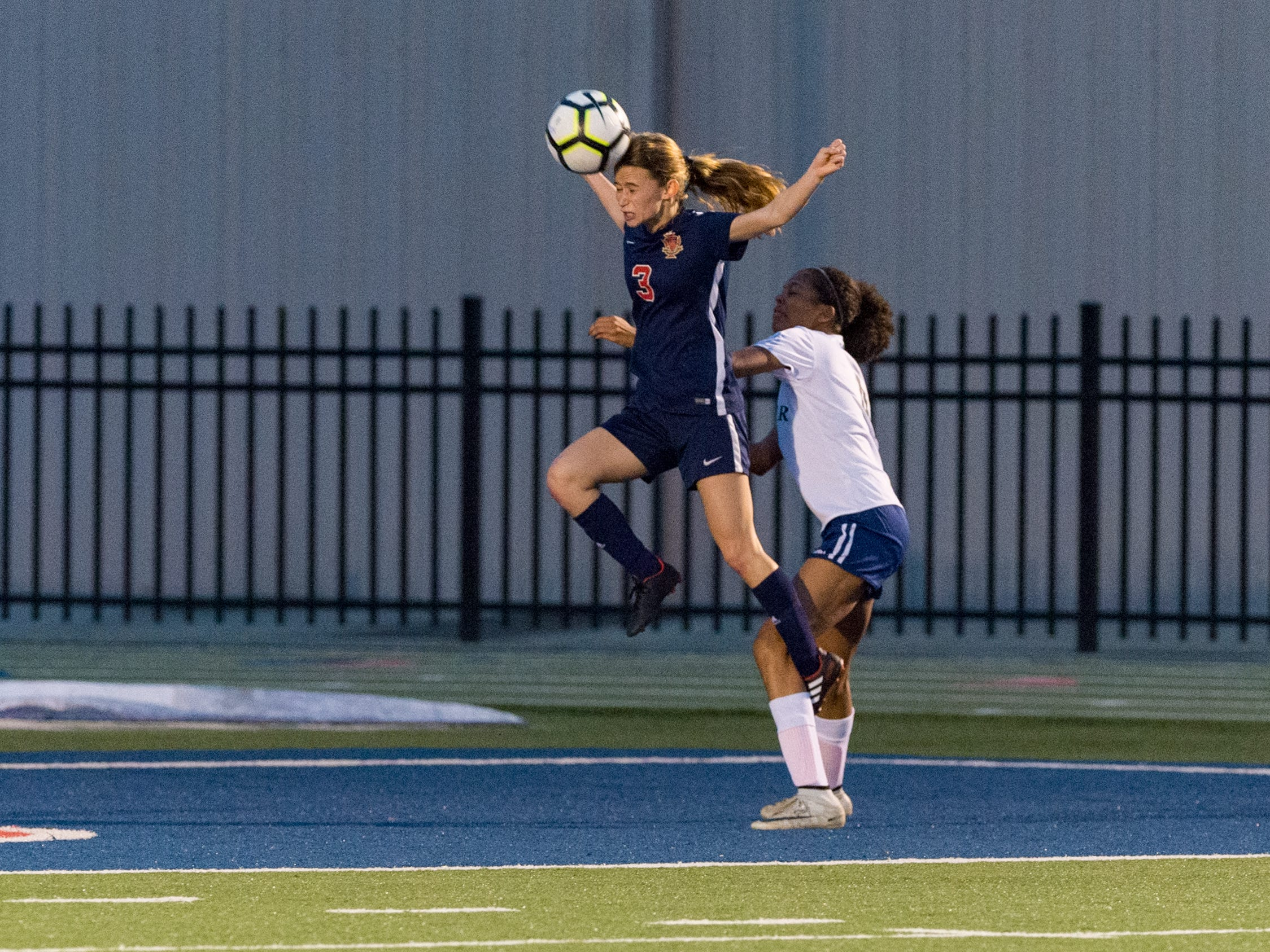 Emily Sonnier header as Teurlings Catholic shuts out Lutcher 8-0 in the second round of the LHSAA soccer playoffs.  Tuesday, Feb. 5, 2019.