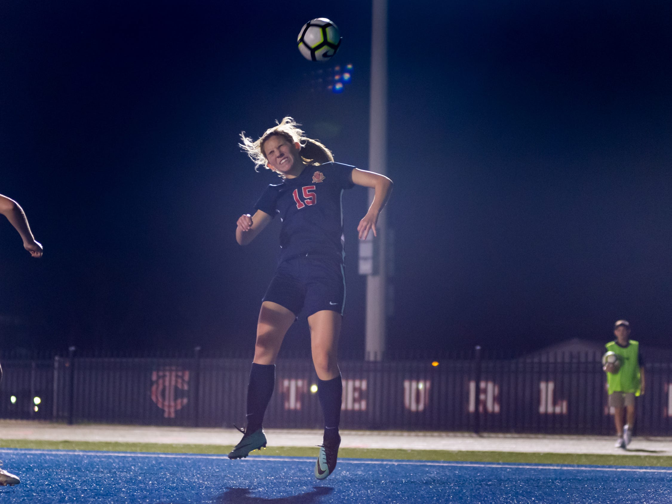 Claire Savoie header as Teurlings Catholic shuts out Lutcher 8-0 in the second round of the LHSAA soccer playoffs.  Tuesday, Feb. 5, 2019.