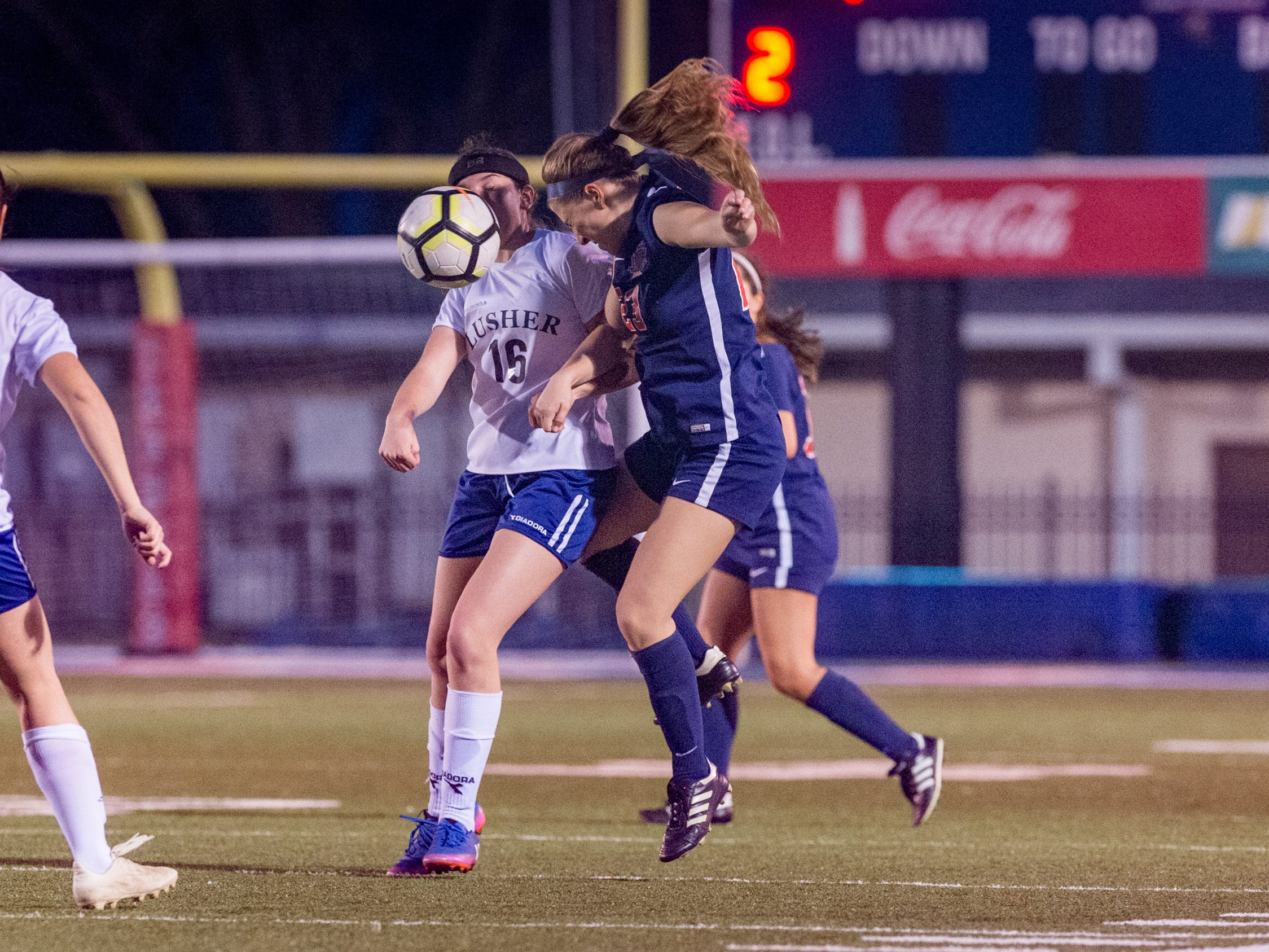 Paige Broussard header as Teurlings Catholic shuts out Lutcher 8-0 in the second round of the LHSAA soccer playoffs.  Tuesday, Feb. 5, 2019.
