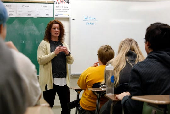 Rebecca Krutsch, an educator with the Recovery Center, talks to a class of Lancaster High School students about goal setting Wednesday, Feb. 6, 2019, at school in Lancaster. Krutsch is one of two educators from the Recovery Center who speaks to students throughout the county about goal setting, avoiding drug use and other life skills.