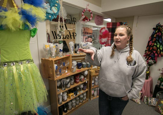 Brandy Springborn, owner of Handmade in Howell, talks about the products in her downtown store Wednesday, Feb. 6, 2019. The storefront will move to the location of The Chocolate Boutique on Michigan Ave.
