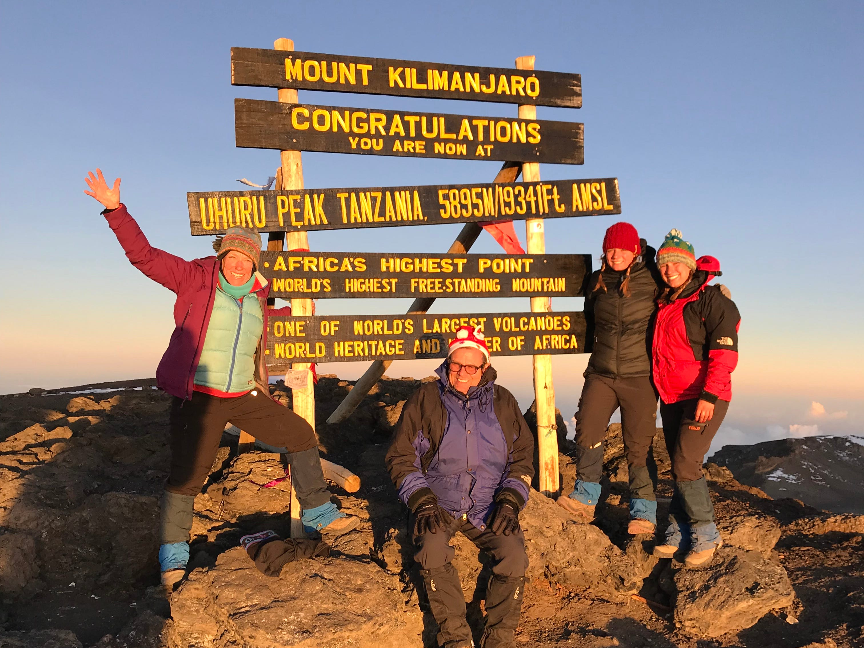 Kirby Adams, John Grantz, Jordan Grantz and Elliott Grantz at the summit of Mount Kilimanjaro, Tanzania