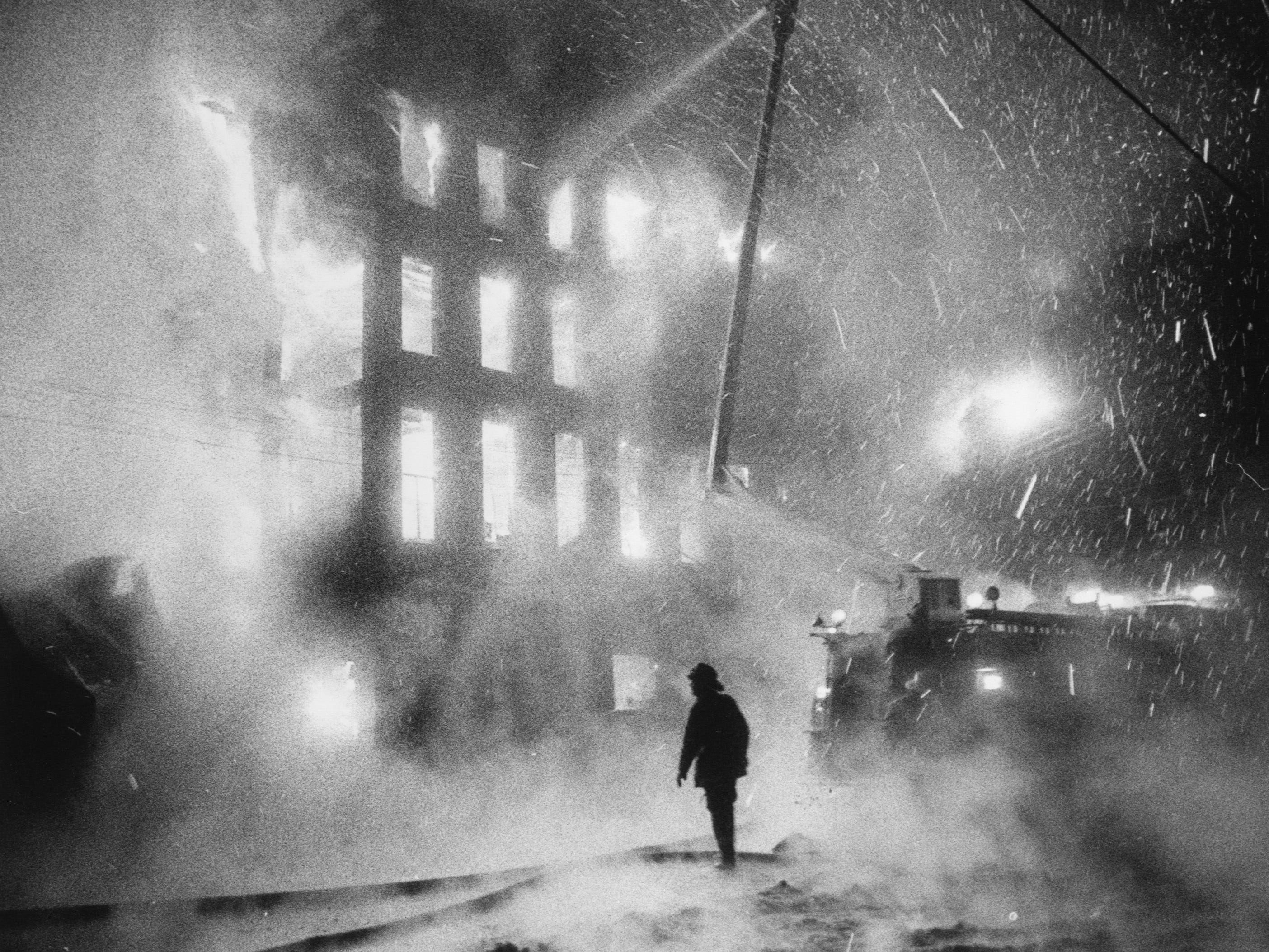 A three-alarm fire at Brinley-Hardy Co. on Preston between Main and Market. 