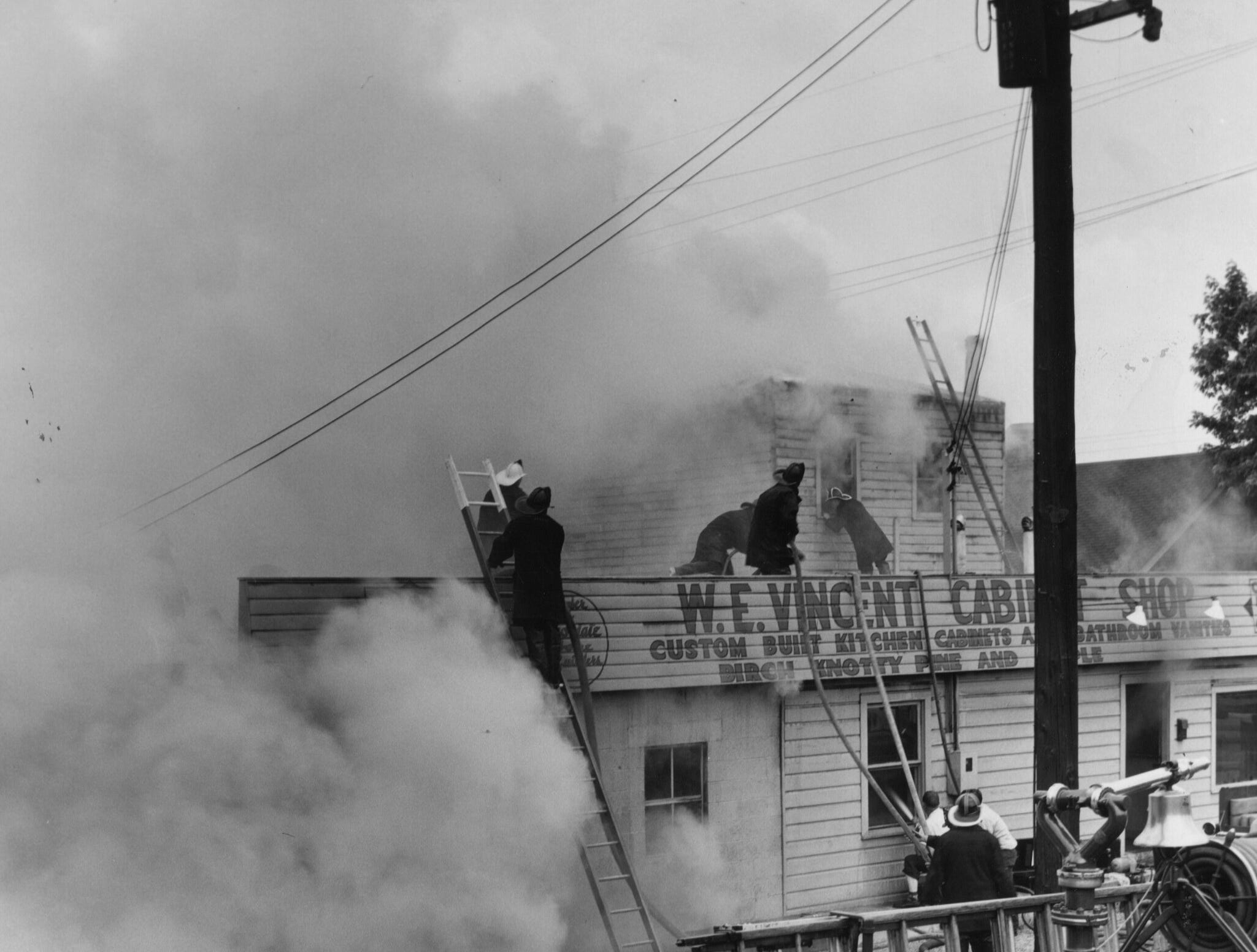 Part of the roof of the cabinet firm collapsed just before this picture was taken. 