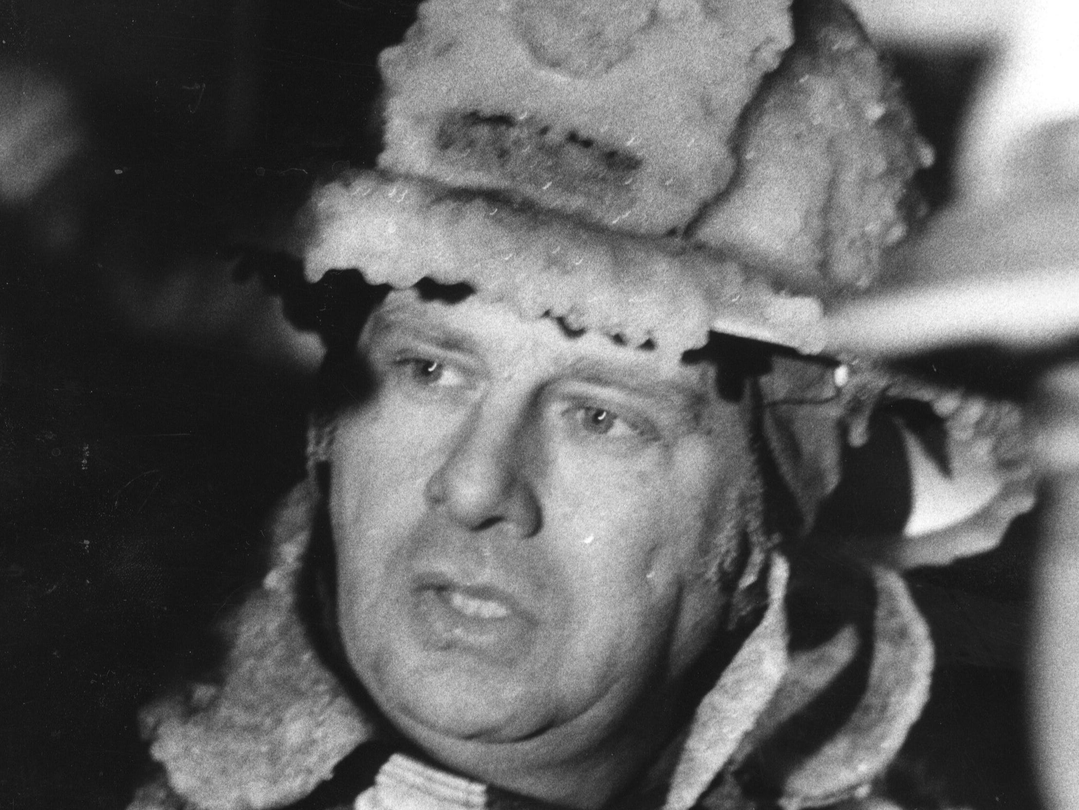 Ice-covered Louisville Fire Chief Thomas Kuster spoke to reporters on scene of the Brinly-Hardy Co. fire. 