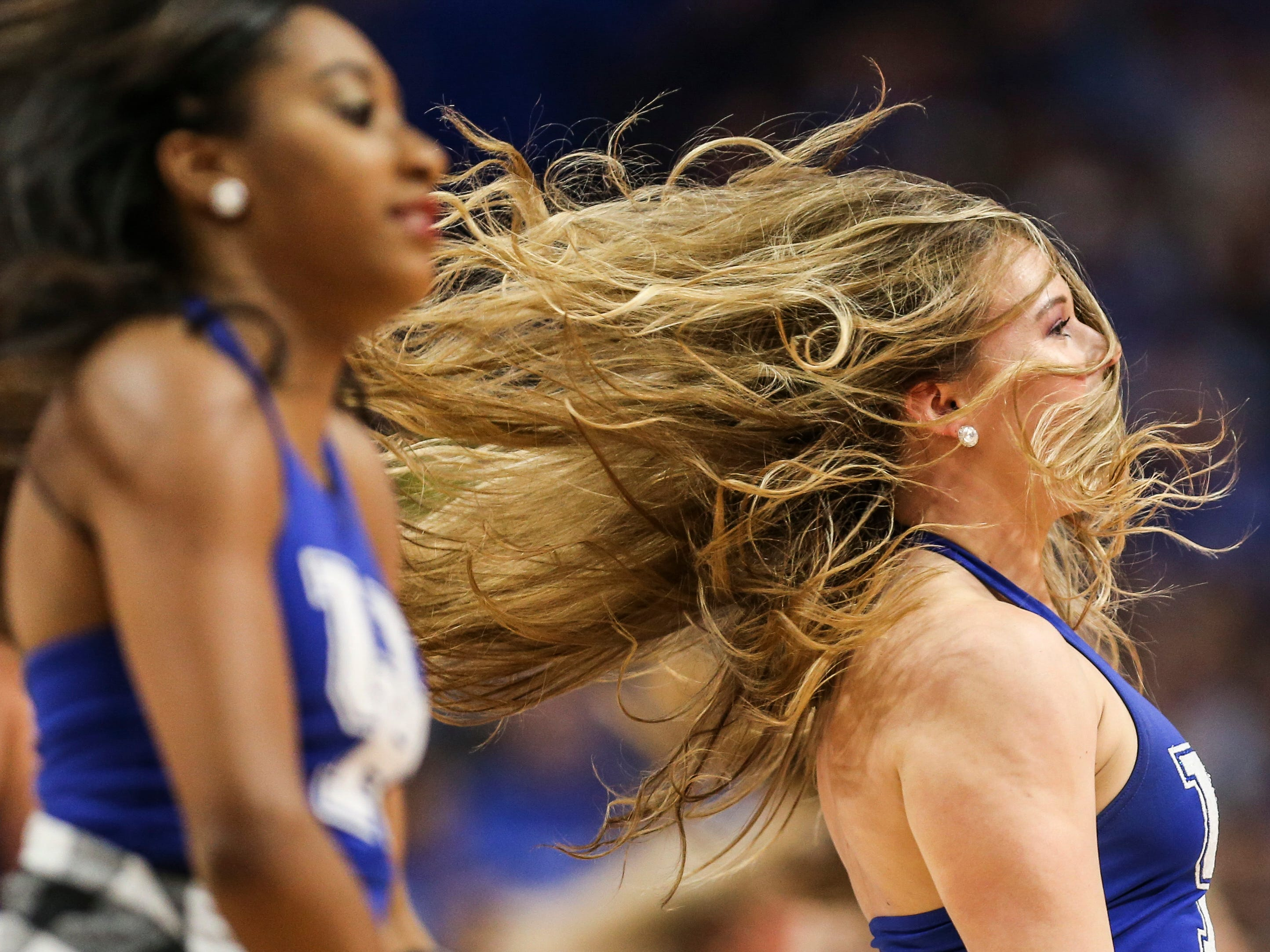 Kentucky cheerleaders performed during a time out.The Wildcats cruised past the Gamecocks 76-48. Feb. 5, 2019
