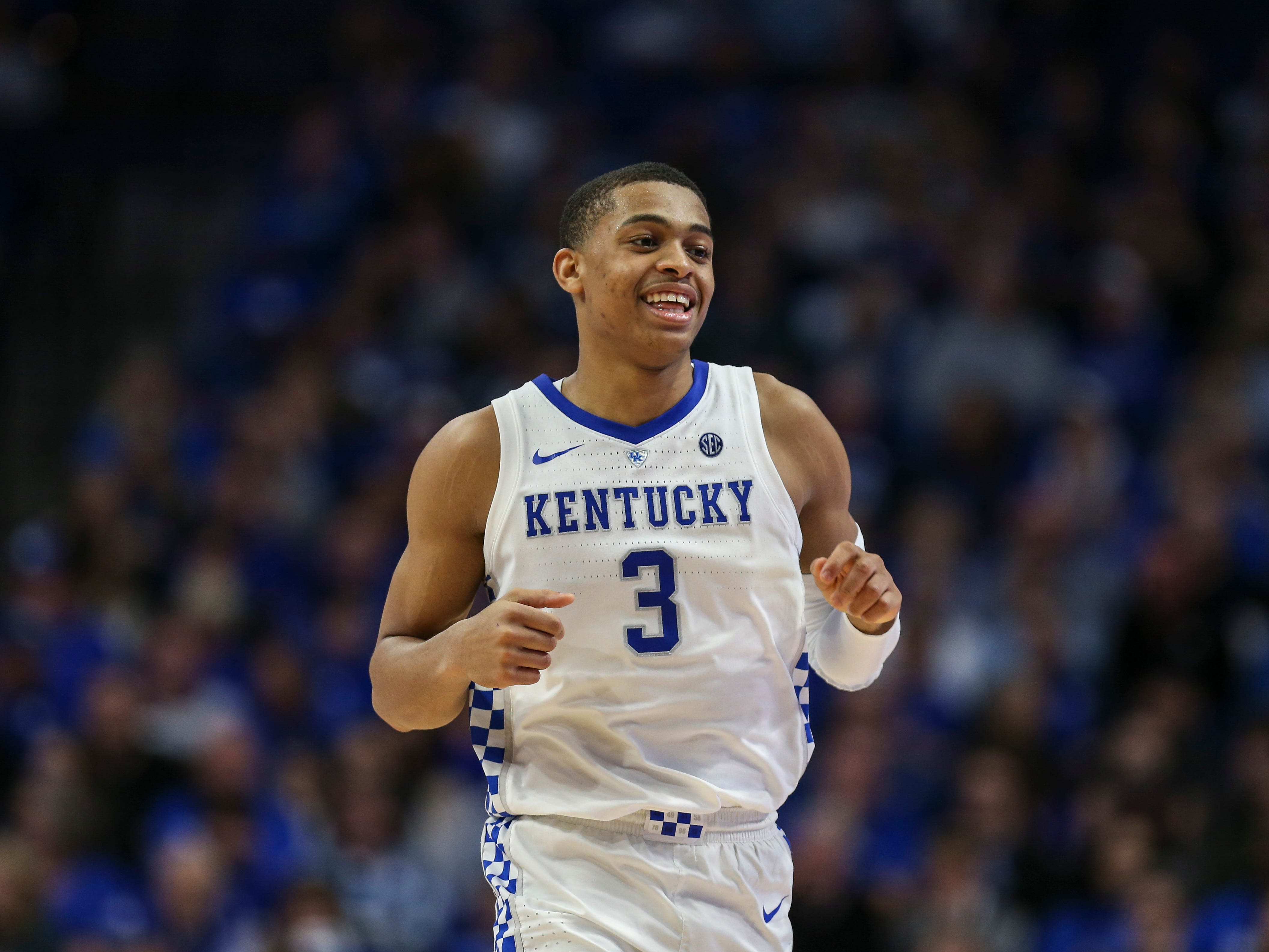 Kentucky's Keldon Johnson smiled as he hustled up the court during the game against South Carolina. He finished with nine points and six rebounds Feb. 5, 2019