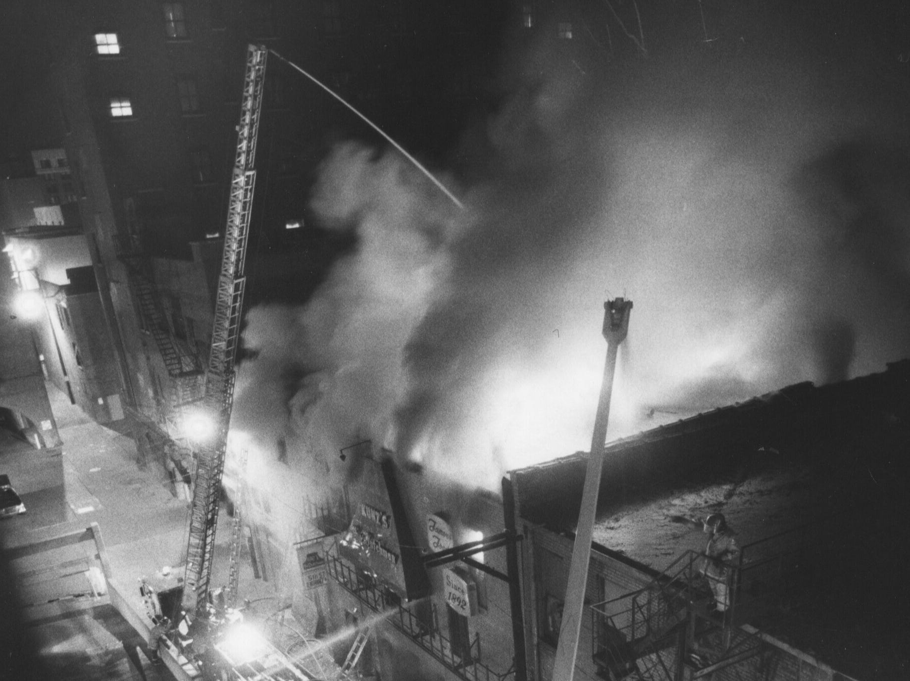A three-alarm fire destroyed Kunz's the Dutchman restaurant and two adjoining stores this morning. 