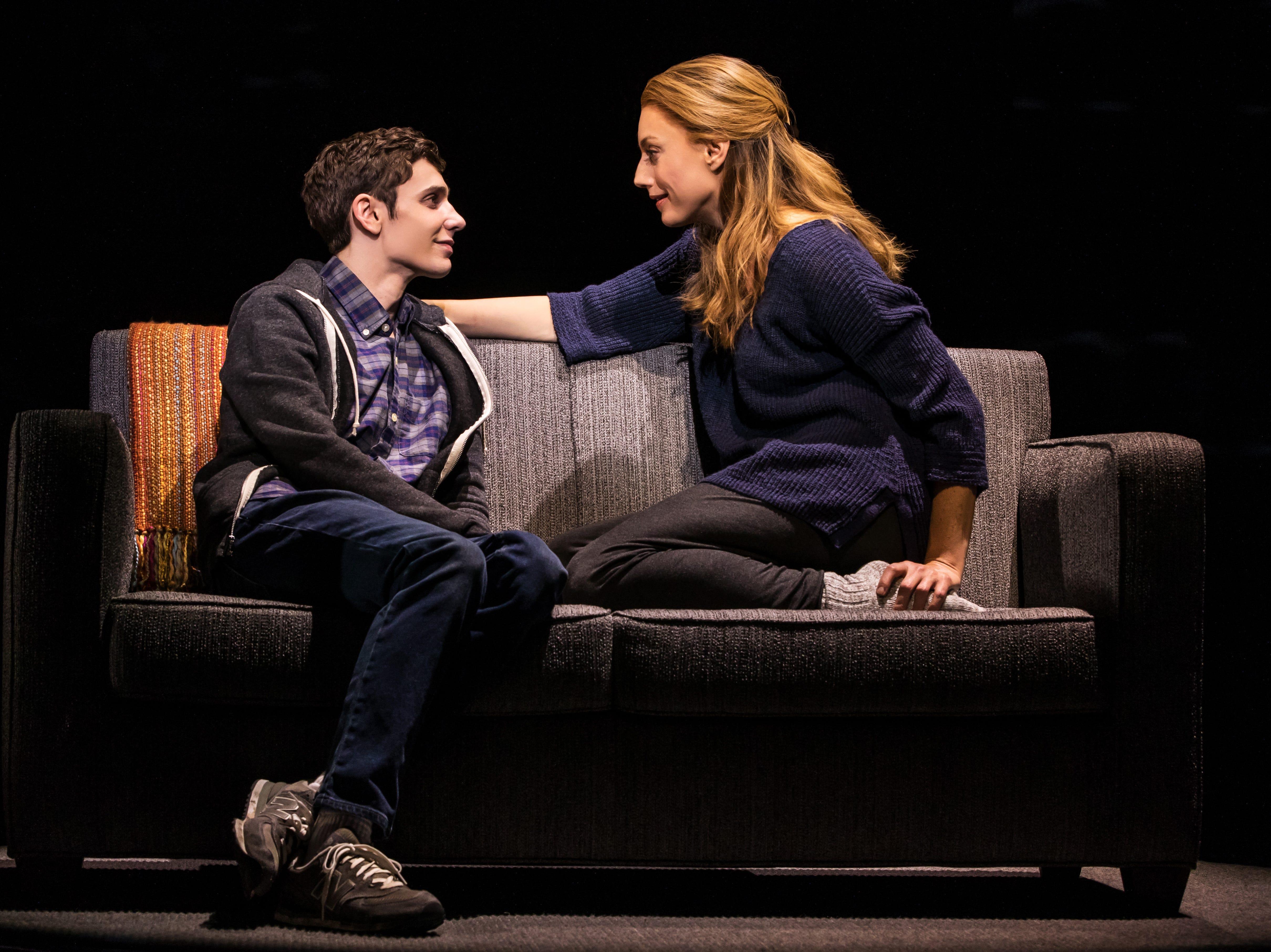"Ben Levi Ross As Evan Hansen And Jessica Phillips As Heidi Hansen In The First North American Tour Of ""Dear Evan Hansen."""