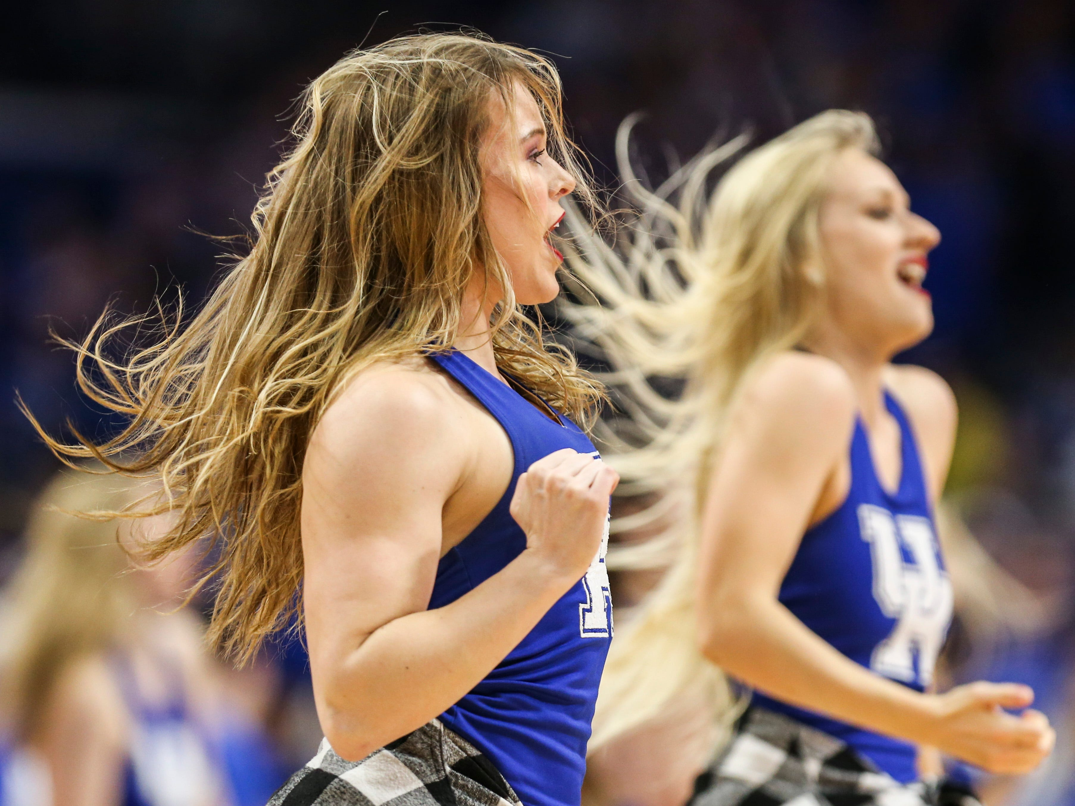 Kentucky cheerleaders perform during a timeout in the first half Tuesday night against South Carolina at Rupp Arena. Feb. 5, 2019