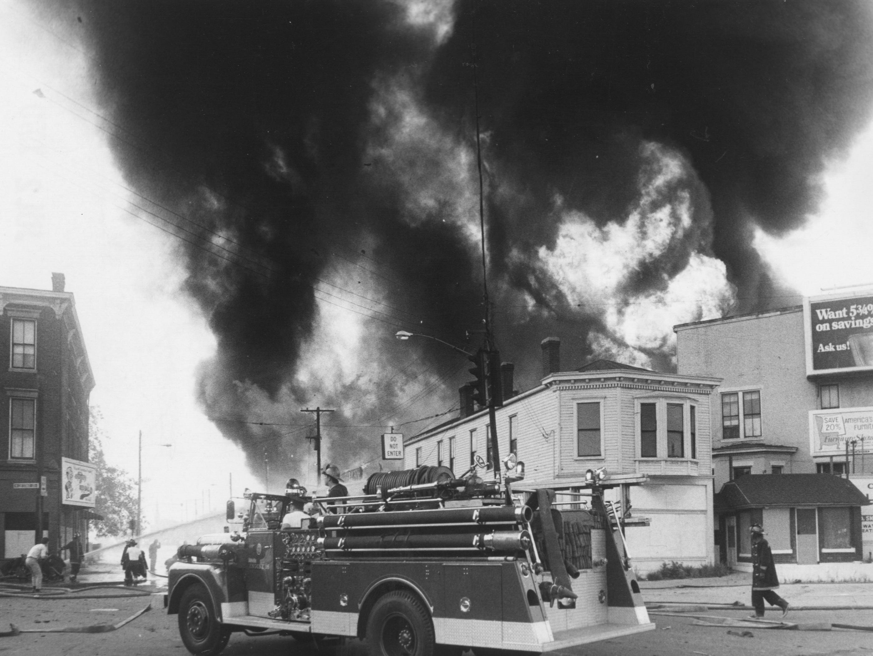 A four-alarm fire on Baxter Ave. between Jefferson and Liberty. 