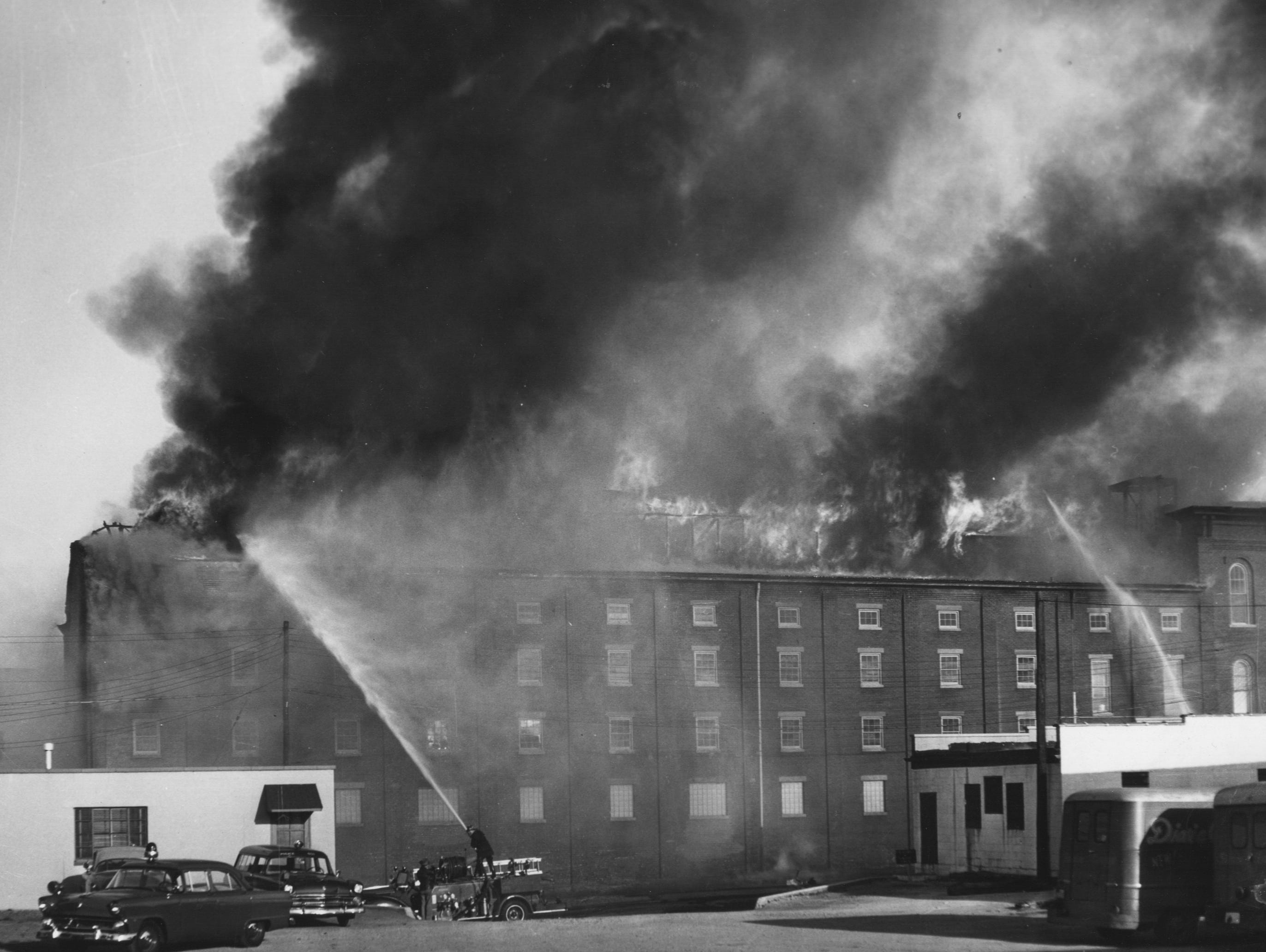 A four-alarm fire at Dixie Cartage located at 11th and Main. 